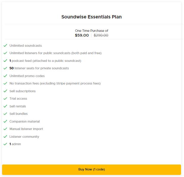 Soundwise Essentials Plan AppSumo Pricing